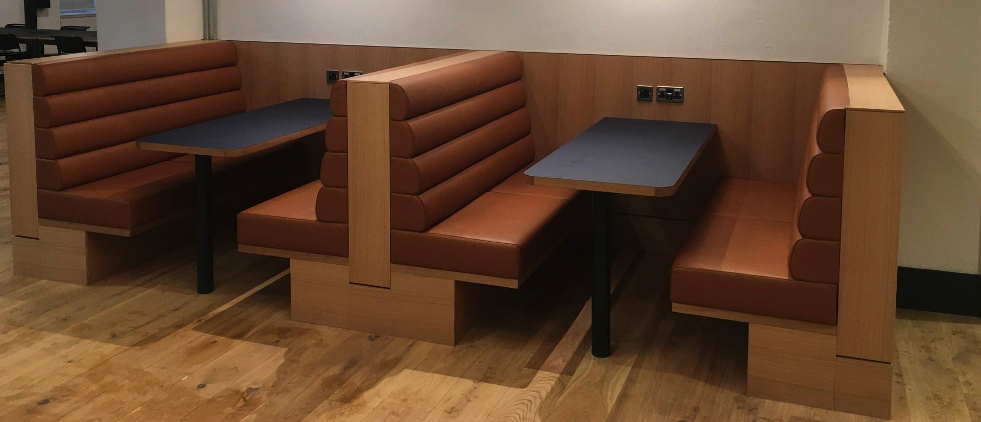 Brown vinyl booth seating created by Margan Limited