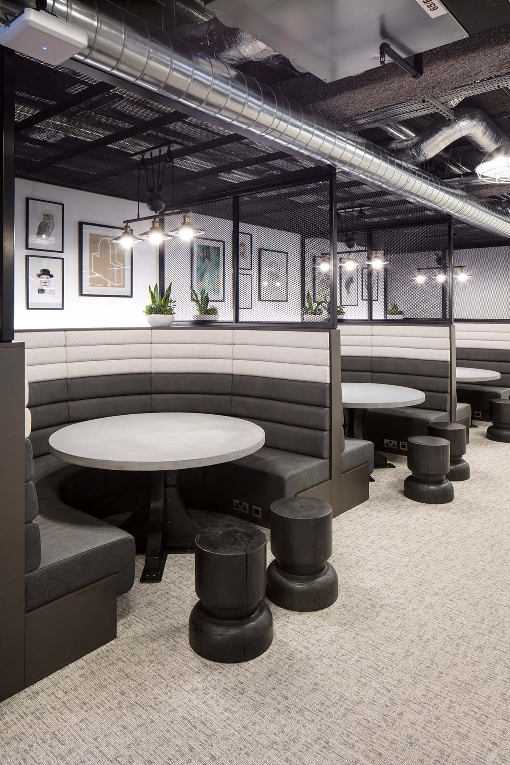 Corporate booth seating designed and upholstered for Investec