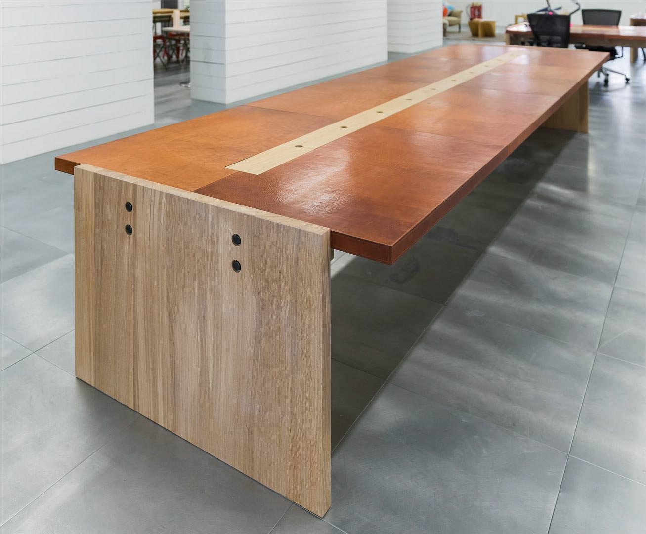 Vegetable tanned leather top workstation table