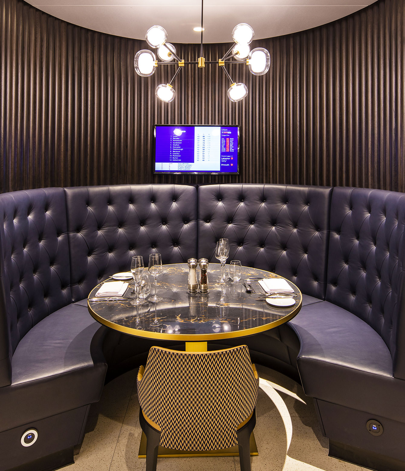 Tottenham FC leather booth seating upholstery by Margan Ltd