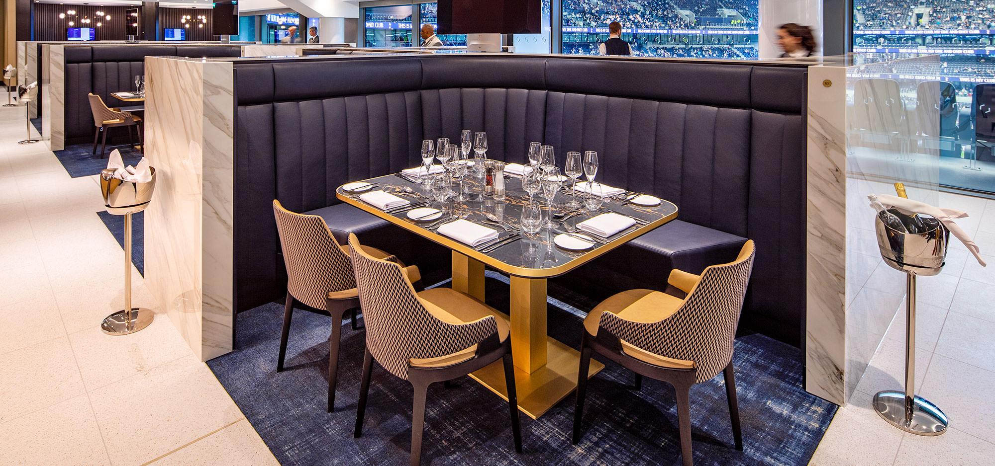 Tottenham Football Club hospitality custom leather upholstery by Margan Ltd